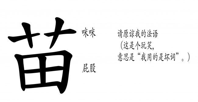 """<strong>图17:</strong>""""苗""""的隐藏象征意义有没有可能是各个组成部分代表女性身体的相应部分呢?""""艸""""字已经被简化为""""艹"""",代表""""乳房""""——理论上来说可以拆分成两个十字(++)或者两个t(tt)——同时还代表""""芽苞"""",""""新苗"""",都是植株上新长出的部分;""""田""""即为""""目标"""",代表""""屁股""""或""""阴道"""",内部的加号标志在本例中指带""""女性的生殖器官""""或""""从此处插入""""——即男性的目标。这个解释说明了为什么""""妓女"""",""""猫"""",以及""""漂亮女性""""等不同的概念仅仅通过改变与""""苗""""搭配的偏旁便可以得到。同时,这也解释了""""苗条""""(纤瘦且吸引人)一词:""""条""""描述的是女性的身体状态:苗。"""