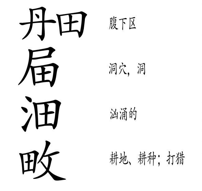 "<strong>图21:</strong>包含""田""的四个例子都表明了""田""的隐喻含义,并且有着宽泛的解读范围。第一个例子""丹田""与""阴道""的意象一致,""洞穴,洞""也不例外。""汹涌""可以用来描述征服的场景(""水""经常被作为""精液""的隐喻),最后一个例子""耕地、耕种;打猎""则与捕食性行为相一致。"