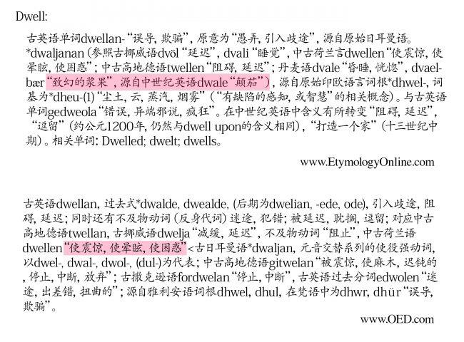 "<strong>图24:</strong>根据网站www.etymology.com,单词""dwell""的词根包含致命的颠茄(看第一幅图紫色标注部分),而牛津英语词典(第二幅图紫色标注部分)则不包含,其给出的词根是""使昏迷,眩晕""。有些文化给女人裹足,有些文化使用毒品,而有些则使用其他种类的手段来控制人类。"