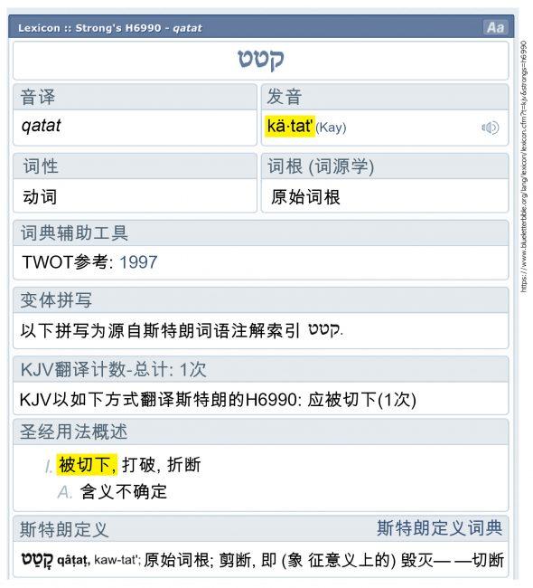 "<strong>图41:</strong>希伯来语里的""Qatat""发音是""katat"",含义为""切断""。"