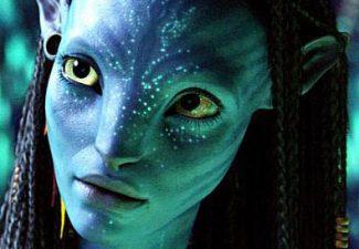 Actress Zoe Saldana as Neytiri from the 2009 film Avatar is enhanced by CGI to create a cow-like appearance resembling the Egyptian goddess Hathor.
